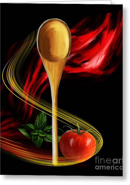 Spaghetti Greeting Cards - Marinara Greeting Card by Kathryn L Novak