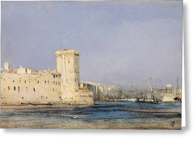 Town Walls Greeting Cards - Marine Fortress Greeting Card by Louis Eugene Gabriel Isabey