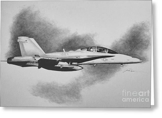Support Drawings Greeting Cards - Marine Hornet Greeting Card by Stephen Roberson