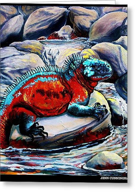 Jenn Cunningham Greeting Cards - Marine Iguana Greeting Card by Jenn Cunningham