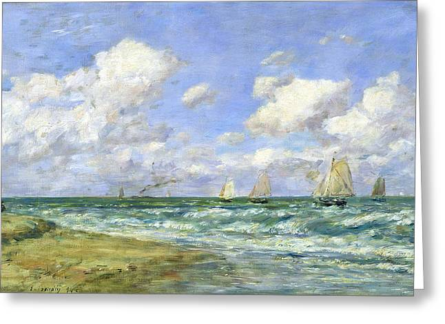 Boudin; Eugene Louis (1824-98) Greeting Cards - Marine scene Greeting Card by Eugene Louis Boudin