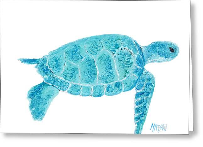 Aquarium Fish Greeting Cards - Marine Turtle painting on white Greeting Card by Jan Matson
