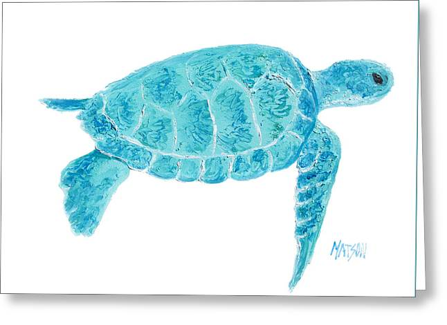 Ocean Turtle Paintings Greeting Cards - Marine Turtle painting on white Greeting Card by Jan Matson
