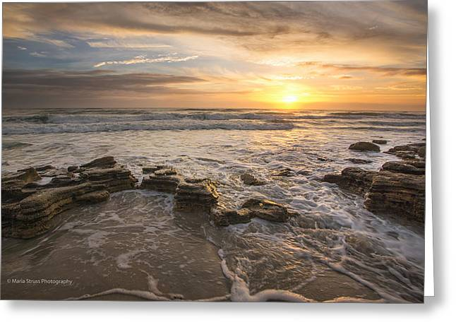 Outgoing Tide Greeting Cards - Marineland Sunrise 170 Greeting Card by Maria  Struss