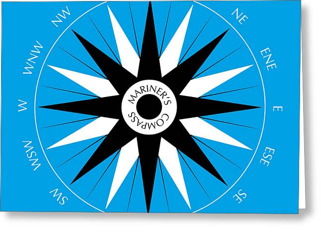 Mariner's Compass Greeting Card by Frank Tschakert