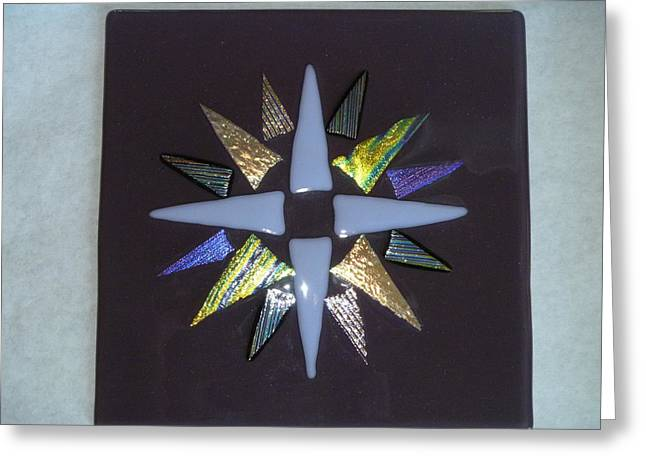 Iridescent Glass Greeting Cards - Mariners Cross fused glass Greeting Card by Vivian Stearns-Kohler