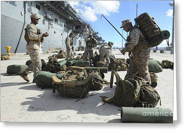Marines Move Gear During An Embarkation Greeting Card by Stocktrek Images