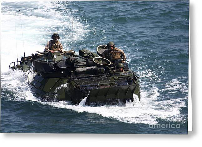 Up-armored Greeting Cards - Marines Operate An Amphibious Assault Greeting Card by Stocktrek Images