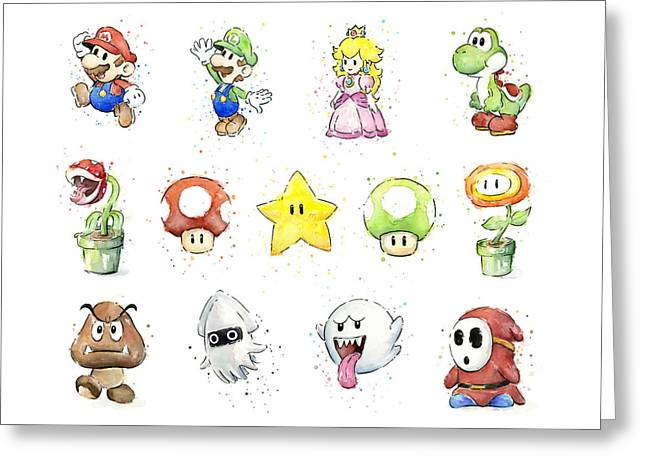 Mario Characters In Watercolor Greeting Card by Olga Shvartsur