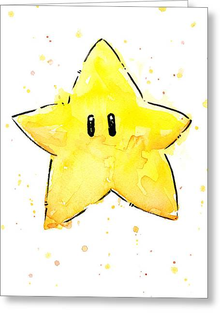 Star Mixed Media Greeting Cards - Mario Invincibility Star Watercolor Greeting Card by Olga Shvartsur