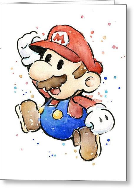 Character Portraits Greeting Cards - Mario Watercolor Fan Art Greeting Card by Olga Shvartsur