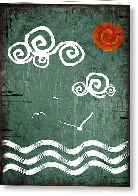 Green Greeting Cards - Maritime 1 Greeting Card by Mihaela Pater