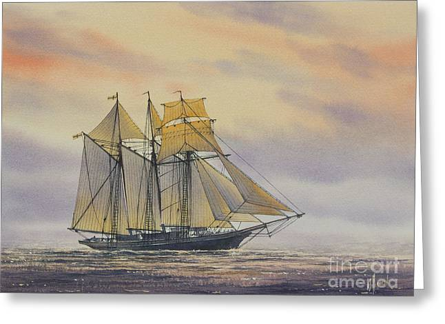 Tall Ship Canvas Greeting Cards - Maritime Beauty Greeting Card by James Williamson