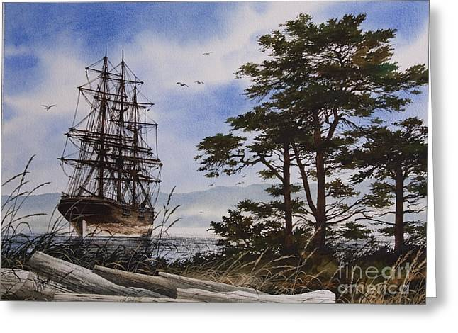 Tall Ship Canvas Greeting Cards - Maritime Shore Greeting Card by James Williamson