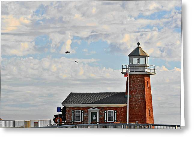 Steamer Lane Greeting Cards - Mark Abbott Memorial Lighthouse  - Home of the Santa Cruz Surfing Museum CA USA Greeting Card by Christine Till