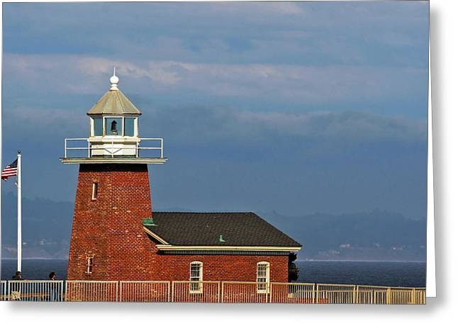 Steamer Lane Greeting Cards - Mark Abbott Memorial Lighthouse California - The worlds oldest surfing museum Greeting Card by Christine Till