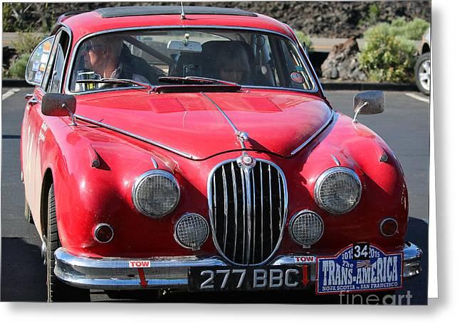 Rally Greeting Cards - Mark II Jaguar Greeting Card by Susan Herber