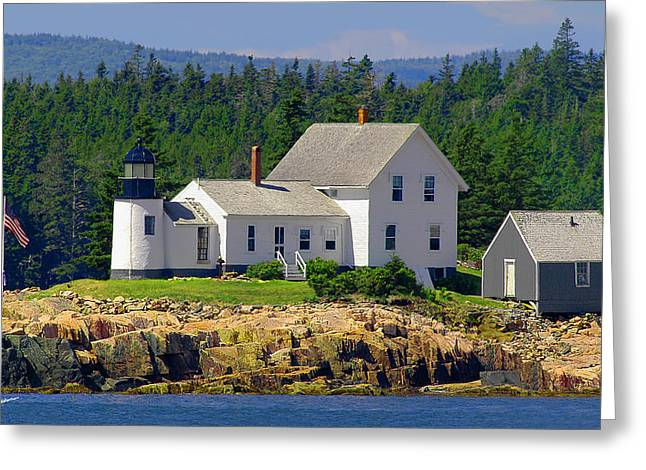 Maine Shore Greeting Cards - Mark Island Lighthouse Greeting Card by Phil Jensen