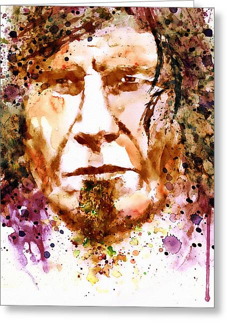 Marks Mixed Media Greeting Cards - Mark Lanegan in watercolor Greeting Card by Marian Voicu