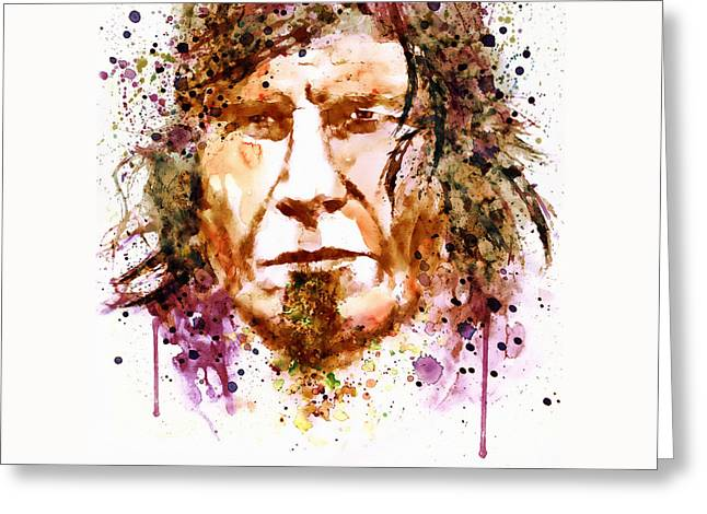 Screaming Mixed Media Greeting Cards - Mark Lanegan in watercolor Greeting Card by Marian Voicu