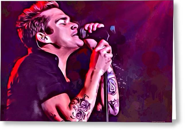Sayers Greeting Cards - Mark McGrath Portrait Greeting Card by Scott Wallace