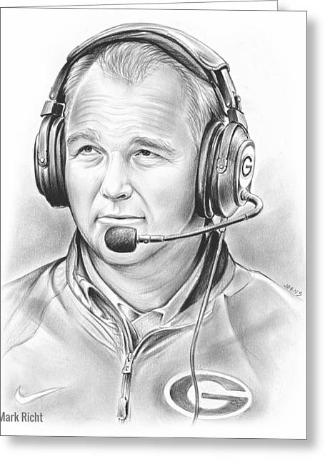 Mark Richt  Greeting Card by Greg Joens