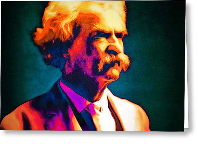 Mark Twain 20151224 Square Greeting Card by Wingsdomain Art and Photography