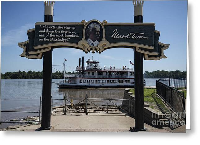 Becky Greeting Cards - Mark Twain on the Big Muddy Greeting Card by David Bearden