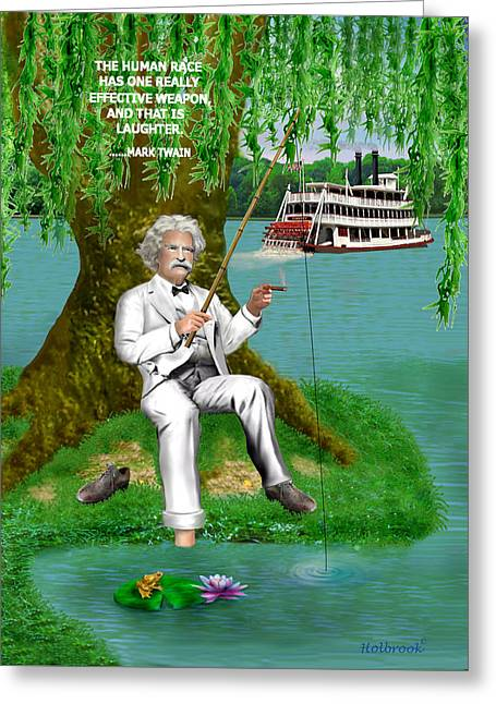 Weeping Greeting Cards - Mark Twain on the Mississippi Greeting Card by Glenn Holbrook