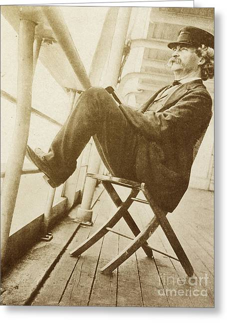 Samuel Greeting Cards - Mark Twain Greeting Card by Photo Researchers