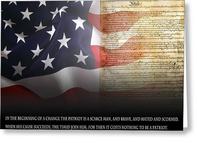 Declaration Of Independence Mixed Media Greeting Cards - Mark Twains Patriot Greeting Card by Daniel Hagerman