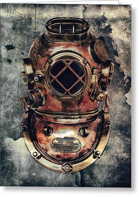 Mark V - Navy Deep Diving Helmet - 1943 Greeting Card by Daniel Hagerman