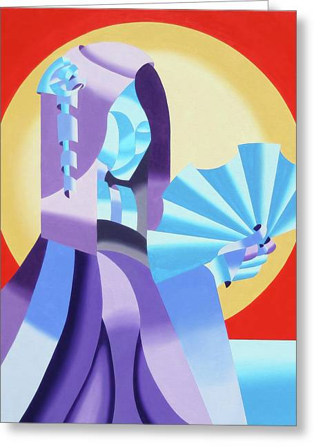 Mark Webster - Abstract Futurist Geisha Greeting Card by Mark Webster