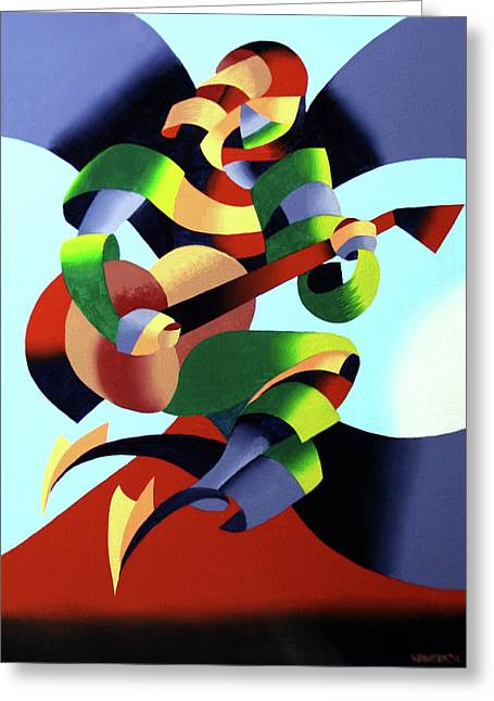 Canvas Panel Greeting Cards - Mark Webster - Abstract Guitarist Greeting Card by Mark Webster