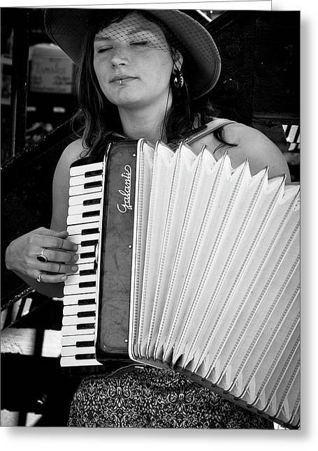 Accordion Greeting Cards - Market Accordion Player Greeting Card by David Patterson