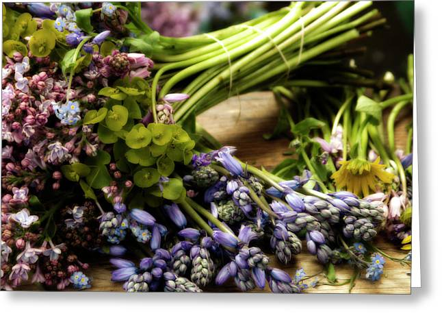 Lavendar Greeting Cards - Market Blooms Greeting Card by Rebecca Cozart