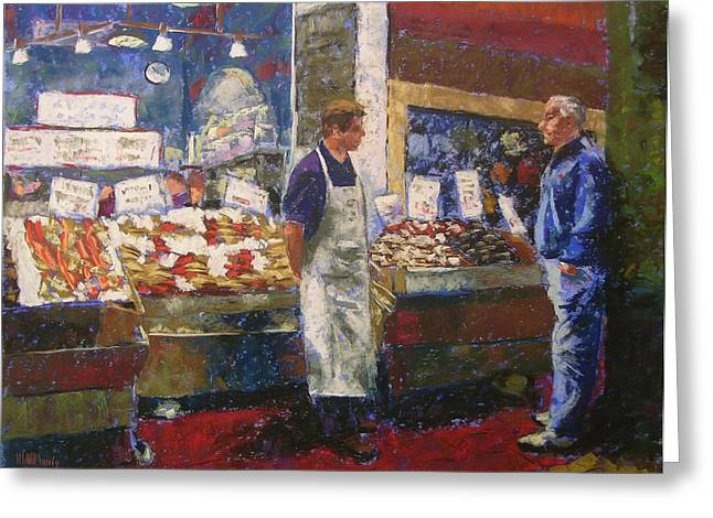 Seattle Pastels Greeting Cards - Market Conversation Greeting Card by Mary McInnis