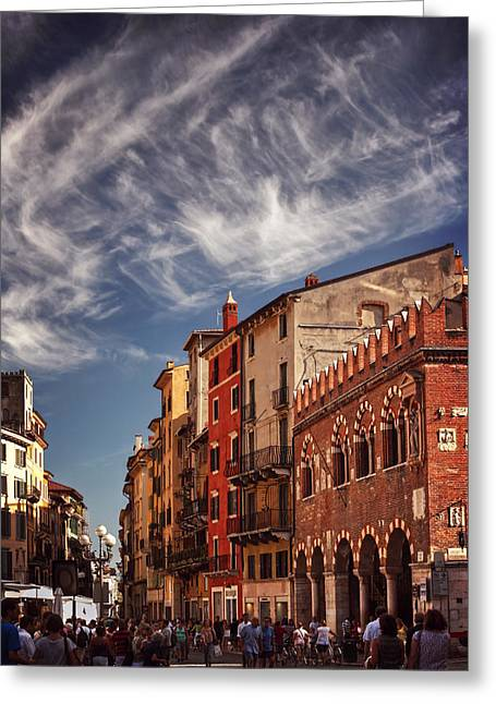 Print Photographs Greeting Cards - Market Day in Verona Greeting Card by Carol Japp