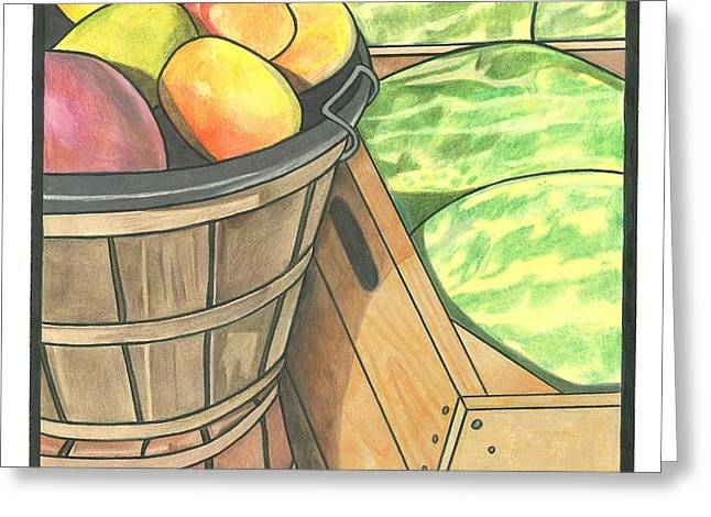 Market Display Greeting Card by Lesley Rutherford