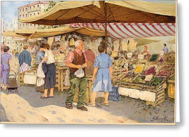 Italian Shopping Paintings Greeting Cards - Market District Greeting Card by Guido Marzulli