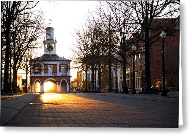 Observer Greeting Cards - Market House Sunrise - Fayetteville - January 29 2015  Horizon Greeting Card by Matt Plyler
