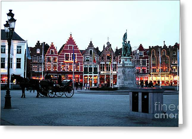 Market Square At Night Greeting Card by John Rizzuto