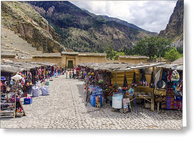 Tourist Site Greeting Cards - Market Square - Ollantaytambo Peru Greeting Card by Jon Berghoff