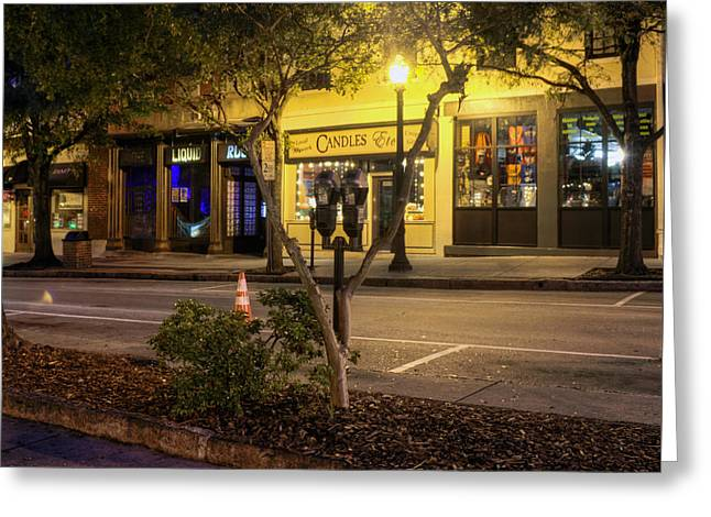Candle Lit Greeting Cards - Market Street At Night Greeting Card by Greg Mimbs
