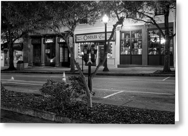 Candle Lit Greeting Cards - Market Street At Night in Black and White Greeting Card by Greg Mimbs