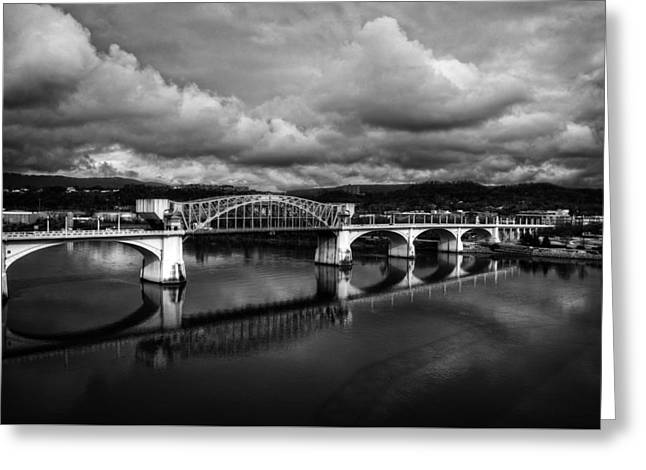 Market Street Bridge In Black And White Greeting Card by Greg Mimbs