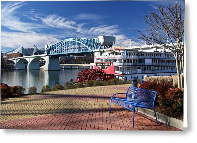 Park Benches Greeting Cards - Market Street Bridge with the Delta Queen from Coolidge Park Greeting Card by Tom and Pat Cory