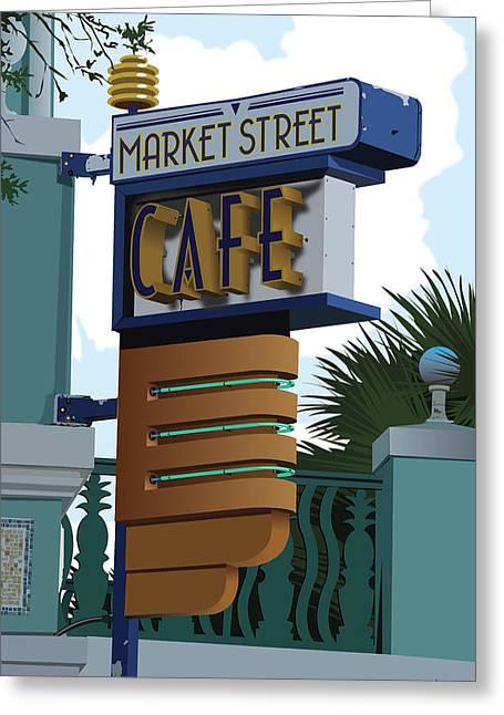Market Street Cafe Greeting Card by Bill Dussinger