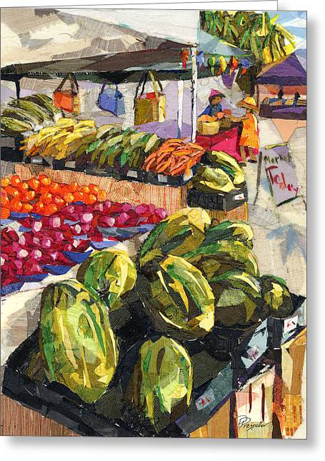 Watermelon Mixed Media Greeting Cards - Market Today Greeting Card by Patricia Presseller