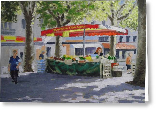 French Open Paintings Greeting Cards - Market Under The Sycamores Greeting Card by Robert Rohrich